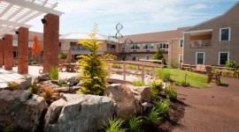 Senior living community's new courtyard includes 8,100 square feet of porous pavement