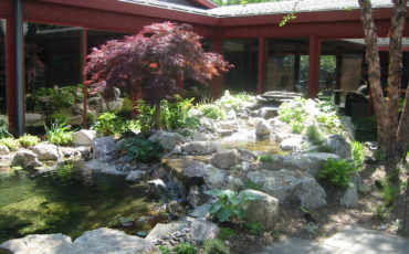 The water feature provide soothing sounds of a waterfall in this centrally located Therapeutic Garden