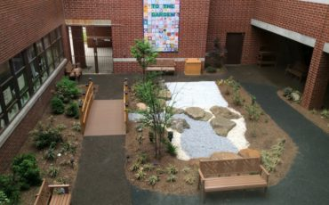 Looking down at the garden from the upper floors of Virtua Hospital