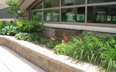 The water feature provides soothing sounds for patients and caregivers within the Healing Garden