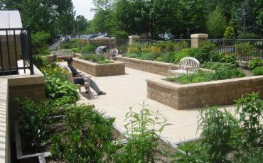 Sitting areas within the Kimball Hospital Healing Garden provide relaxation and restoration for caregivers
