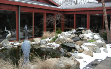 The garden offers four season interest as displayed, here, during the winter months at Meadow Lakes CCRC