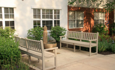 Sitting areas for elders to socialize and enjoy nature