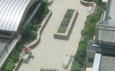 View from patients room of the Healing Garden at Kimball Medical Center