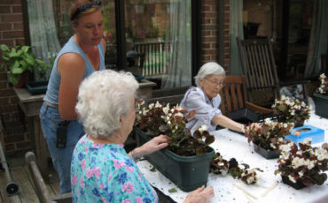 Elders planting window boxes in the spring for the Back Porch Garden