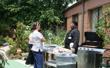 A cook out  for the residents of Medford Leas CCRC in the Back Porch Garden