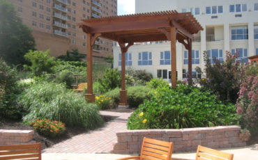 Pergolas were added to the reconstructed garden at the Atrium for shade and socializing among the residents