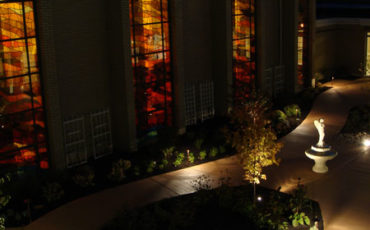 The Sensory Garden is lighted for use by residents and their caregivers