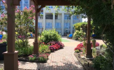 Looking through the pergola in The River Garden at The Atrium in Red Bank, NJ