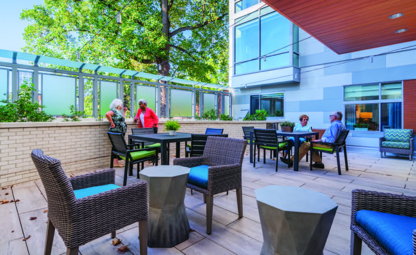 Security and greenery at Brightview Woodmont's memory care terrace, designed by Hord Coplan Macht